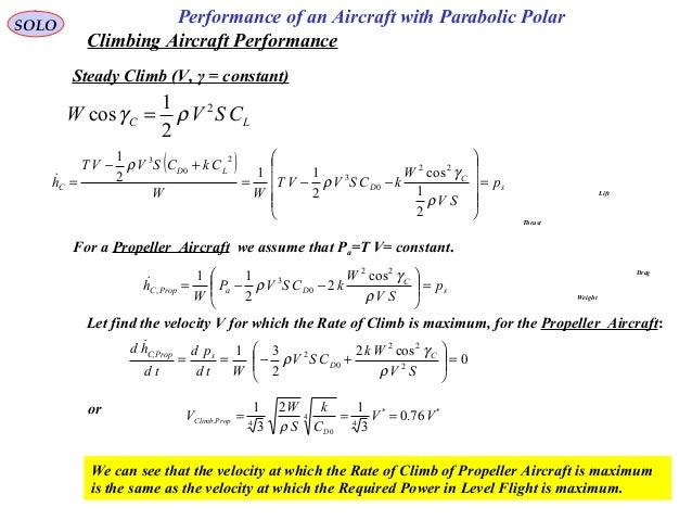 78 Performance of an Aircraft with Parabolic PolarSOLO Climbing Aircraft Performance LC CSVW 2 2 1 cos ργ = ( ) s C D LD C...