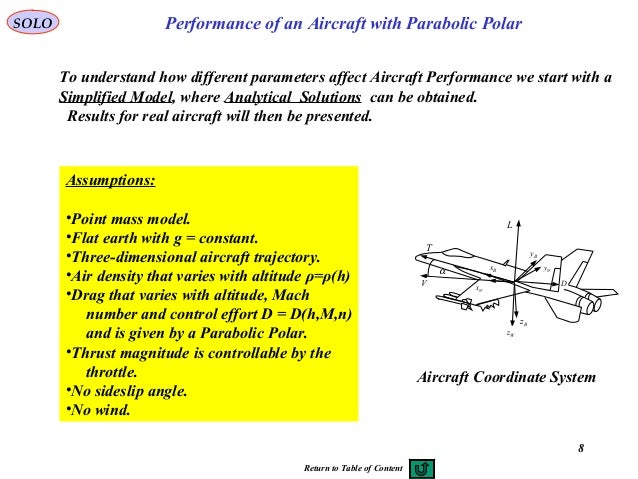 8 Performance of an Aircraft with Parabolic PolarSOLO Assumptions: •Point mass model. •Flat earth with g = constant. •Thre...