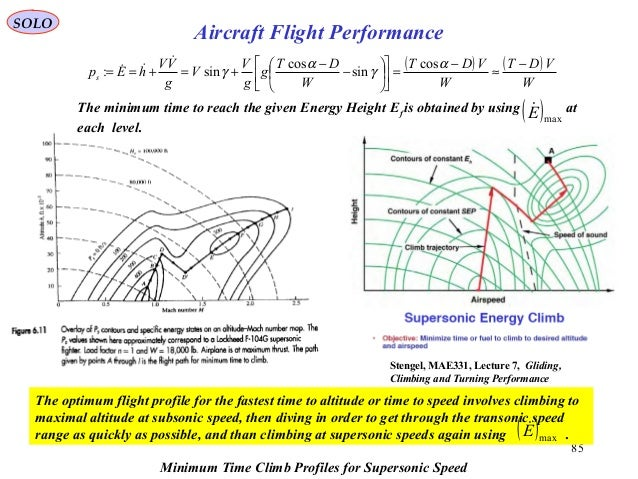 SOLO 85 Aircraft Flight Performance Stengel, MAE331, Lecture 7, Gliding, Climbing and Turning Performance Minimum Time Cli...