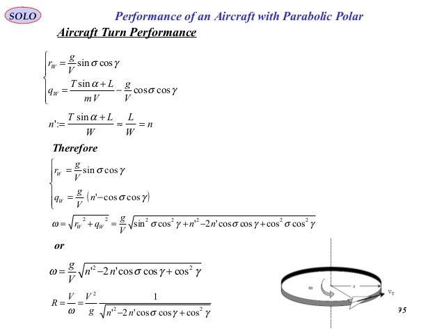 95 Performance of an Aircraft with Parabolic PolarSOLO       − + = = γσ α γσ coscos sin cossin V g Vm LT q V g r W ...