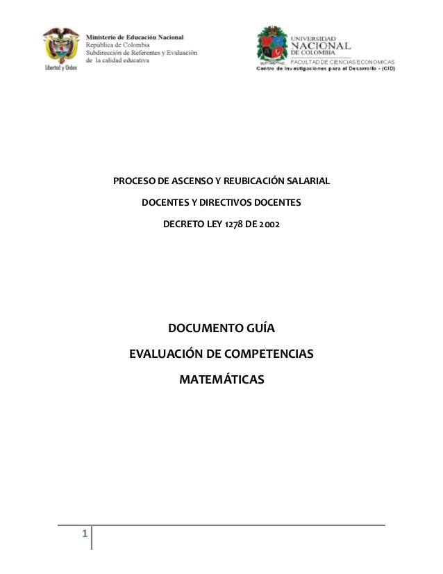 PROCESO DE ASCENSO Y REUBICACIÓN SALARIAL         DOCENTES Y DIRECTIVOS DOCENTES             DECRETO LEY 1278 DE 2002     ...