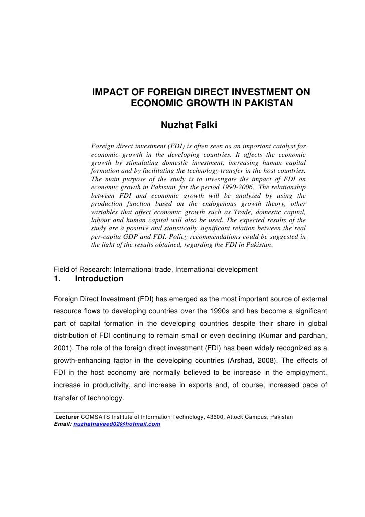 IMPACT OF FOREIGN DIRECT INVESTMENT ON                    ECONOMIC GROWTH IN PAKISTAN                                     ...