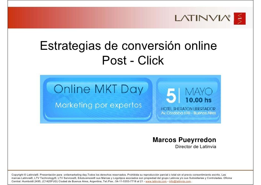 Estrategias de conversión online                                  Post - Click                                            ...