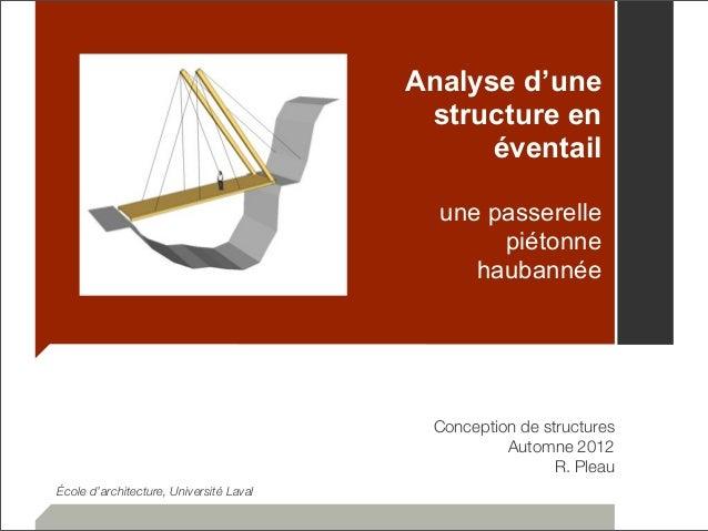 Analyse d'une  structure en  éventail  une passerelle  piétonne  haubannée  Conception de structures  Automne 2012  R. Ple...
