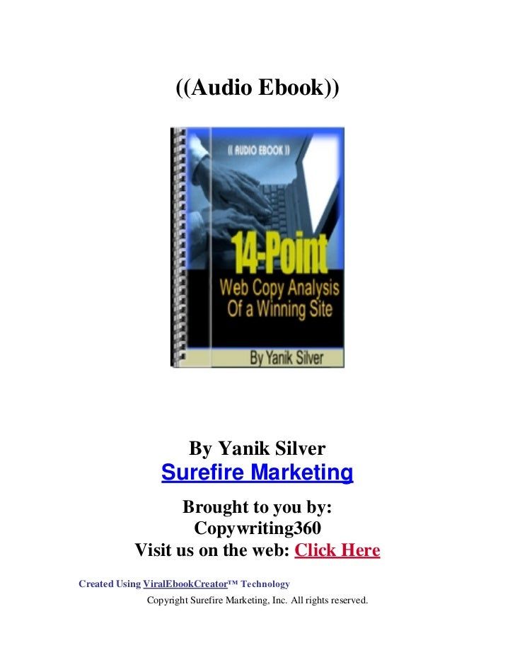 ((Audio Ebook))                       By Yanik Silver                Surefire Marketing                  Brought to you by...