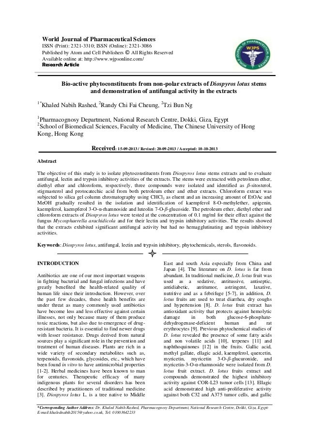 Bio-active phytoconstituents from non-polar extracts of Diospyros lot…