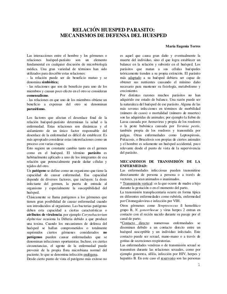 RELACIÓN HUESPED PARASITO:                      MECANISMOS DE DEFENSA DEL HUESPED                                         ...