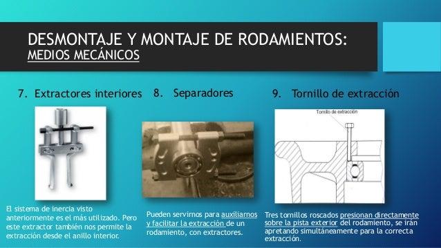 DESMONTAJE Y MONTAJE DE RODAMIENTOS: MEDIOS MECÁNICOS 8. Separadores 9. Tornillo de extracción7. Extractores interiores Tr...