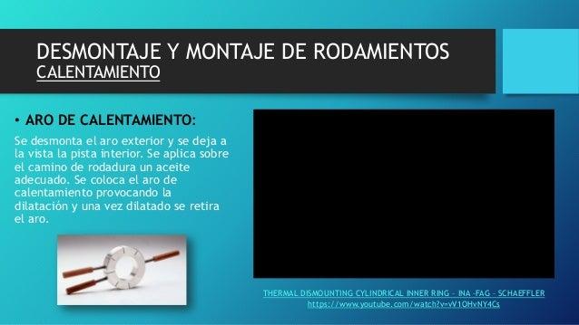 DESMONTAJE Y MONTAJE DE RODAMIENTOS CALENTAMIENTO • ARO DE CALENTAMIENTO: Se desmonta el aro exterior y se deja a la vista...