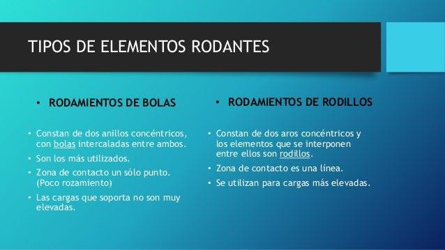 TIPOS DE ELEMENTOS RODANTES • RODAMIENTOS DE BOLAS • Constan de dos anillos concéntricos, con bolas intercaladas entre amb...