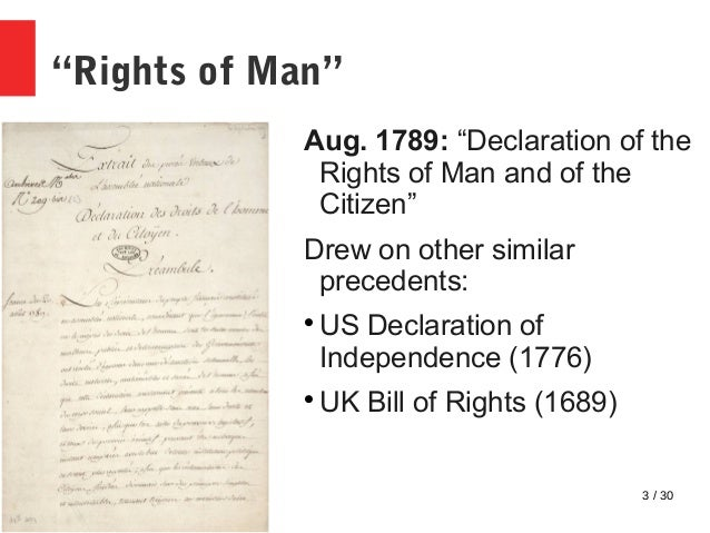 similarities between the declaration of rights of man and citizen and the us bill of rights The declaration of the rights of man and of the citizen (french: déclaration des droits de l'homme et du citoyen de 1789), set by france's national constituent assembly in 1789, is a human civil rights document from the french revolution.