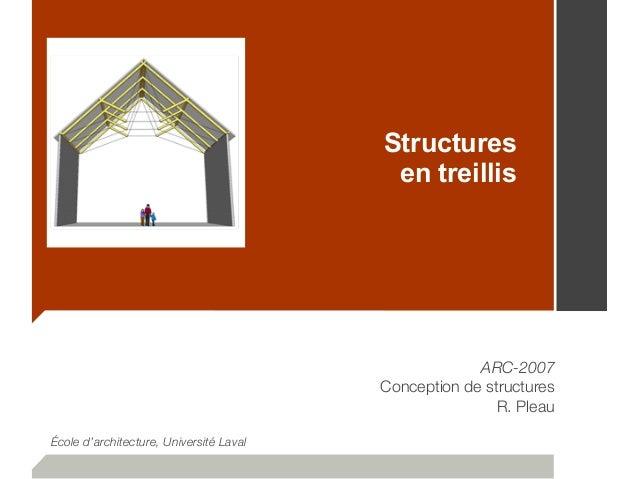 Structures en treillis ARC-2007 Conception de structures R. Pleau École d'architecture, Université Laval