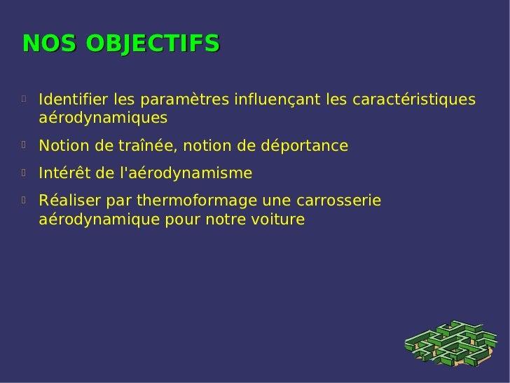 NOS OBJECTIFS   Identifier les paramètres influençant les caractéristiques    aérodynamiques   Notion de traînée, notion...