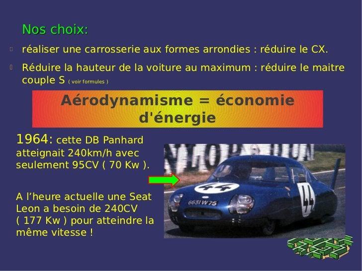 Nos choix:    réaliser une carrosserie aux formes arrondies : réduire le CX.    Réduire la hauteur de la voiture au maxi...