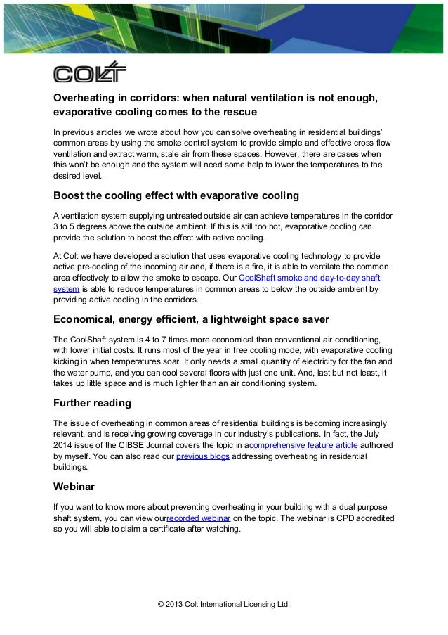 Overheating in corridors: when natural ventilation is not enough, evaporative cooling comes to the rescue In previous arti...