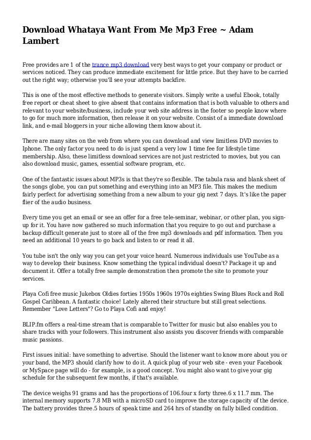Whataya Want From Me - Adam Lambert | Nghe Tải Lời Bài Hát