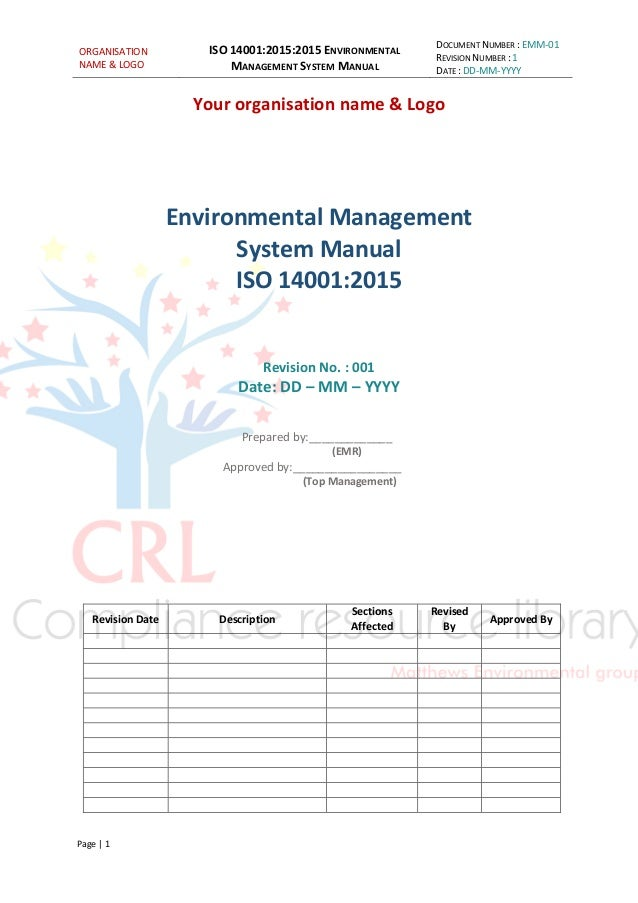 free quality control manual template - iso 14001 2015 managment system manual sample