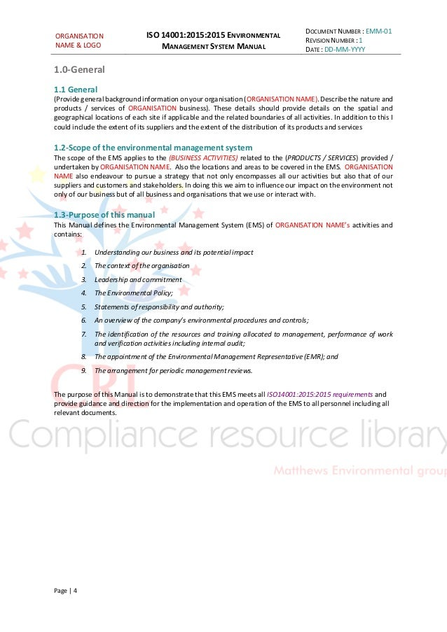 ISO 14001:2015 managment system manual sample