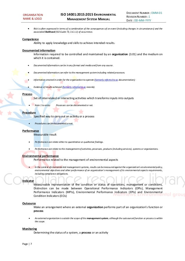 Iso 140012015 Managment System Manual Sample