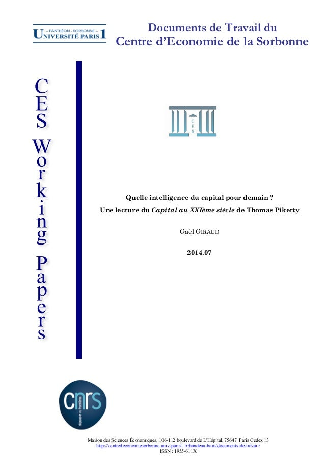 Documents de Travail du  Centre d'Economie de la Sorbonne  Quelle intelligence du capital pour demain ? Une lecture du Cap...
