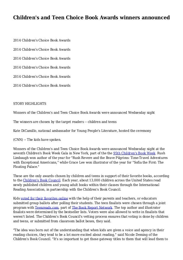 Children's and Teen Choice Book Awards winners announced 2014 Children's Choice Book Awards 2014 Children's Choice Book Aw...