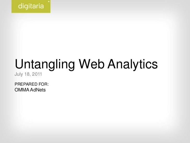 Untangling Web Analytics<br />July 18, 2011<br />PREPARED FOR:<br />OMMA AdNets<br />