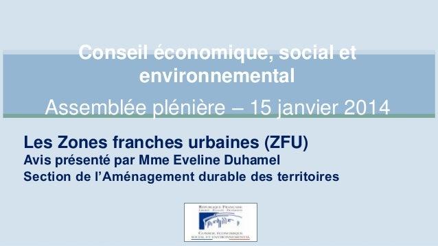 Conseil économique, social et environnemental  Assemblée plénière – 15 janvier 2014 Les Zones franches urbaines (ZFU) Avis...
