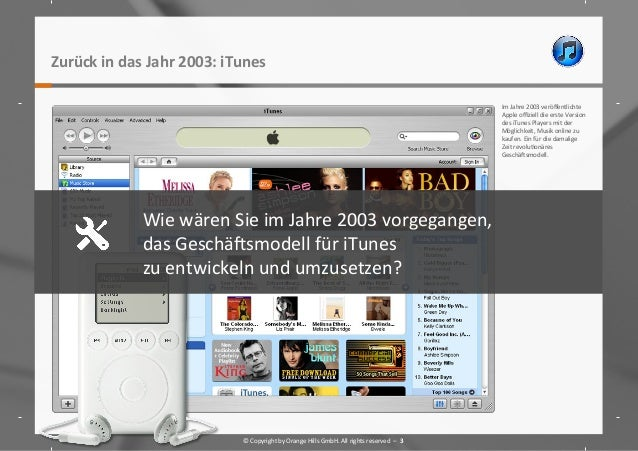 Zurück  in  das  Jahr  2003:  iTunes     Im  Jahre  2003  veröffentlichte   Apple  offiziell  die ...