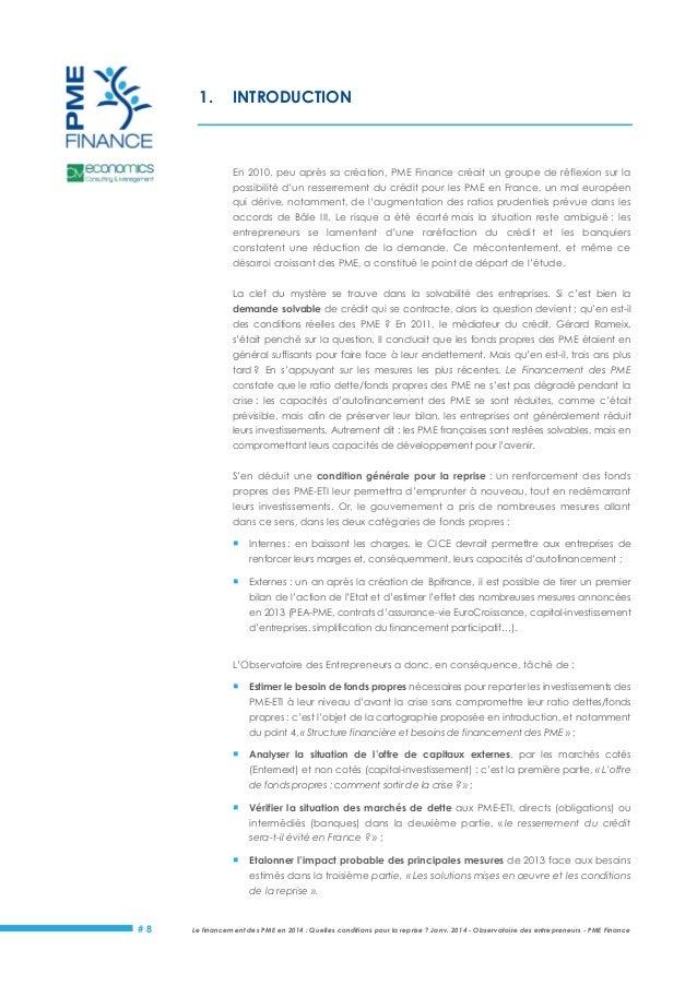 Le Financement des PME (étude PME Finance) Slide 3