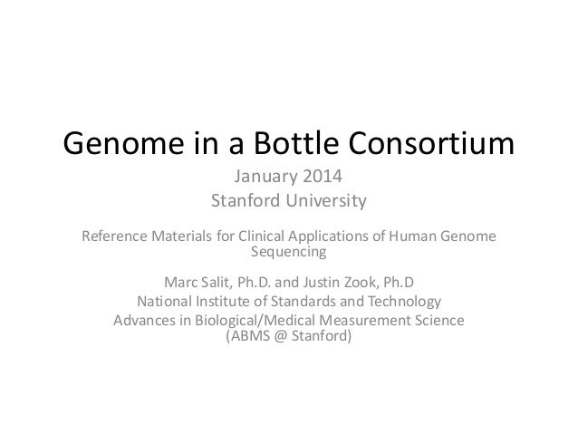 Genome in a Bottle Consortium January 2014 Stanford University Reference Materials for Clinical Applications of Human Geno...
