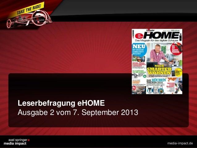 Leserbefragung eHOME Ausgabe 2 vom 7. September 2013