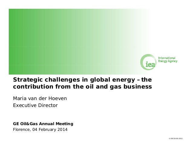 Strategic challenges in global energy –the contribution from the oil and gas business Maria van der Hoeven Executive Direc...