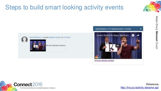 Steps to build smart looking activity events Reference http://tiny.cc/activity-streams-api