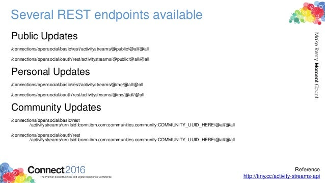 Several REST endpoints available Public Updates /connections/opensocial/basic/rest/activitystreams/@public/@all/@all /conn...