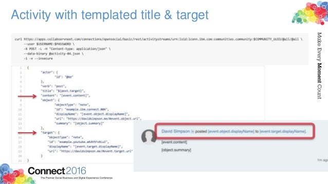 Activity with templated title & target
