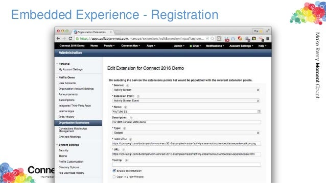 Embedded Experience - Registration