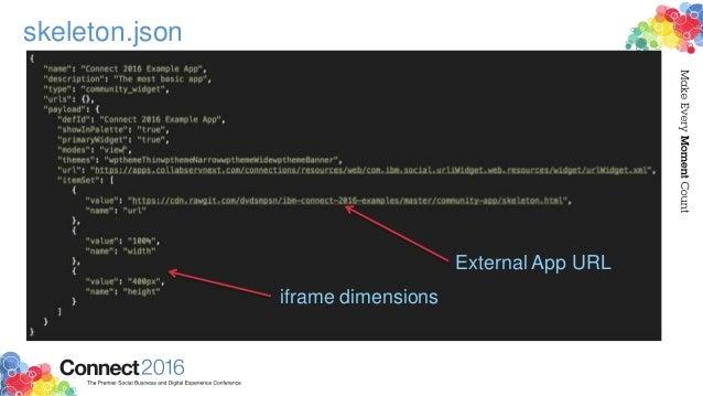 skeletonjson external app url iframe dimensions