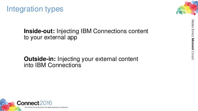 Integration types Inside-out: Injecting IBM Connections content to your external app Outside-in: Injecting your external c...