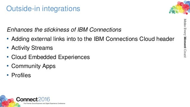 Outside-in integrations Enhances the stickiness of IBM Connections • Adding external links into to the IBM Connections Clo...