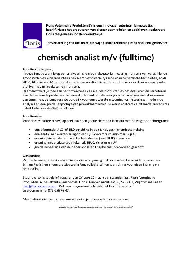voorbeeld sollicitatiebrief analist 140203 vacature chemisch analist voorbeeld sollicitatiebrief analist