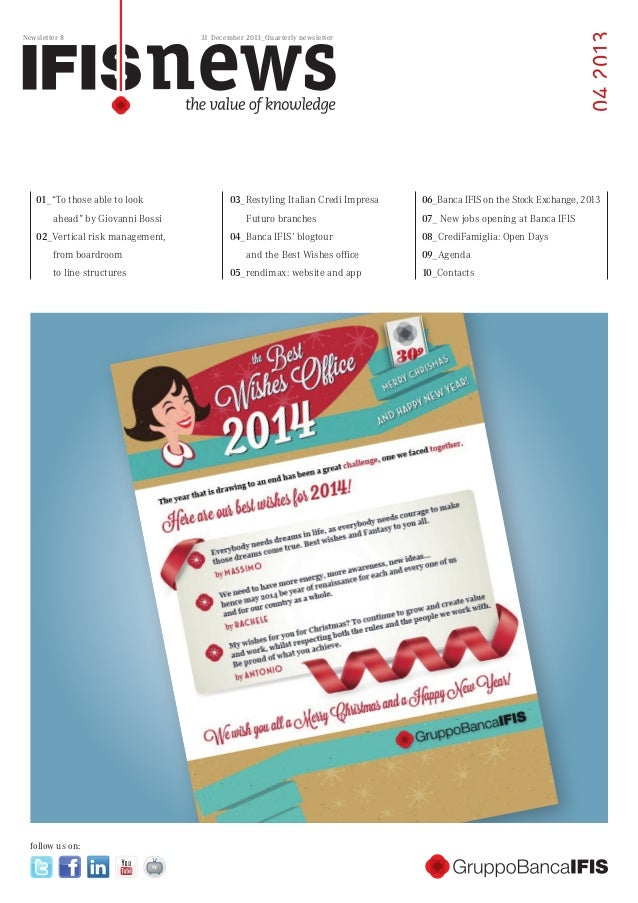 """04 2013  Newsletter 8  31 December 2013_Quarterly newsletter  01_""""To those able to look  03_Restyling Italian Credi Impres..."""
