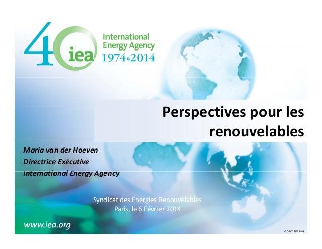 Perspectivespourles P ti l renouvelables MariavanderHoeven DirectriceExécutive InternationalEnergyAgency I t ti l...