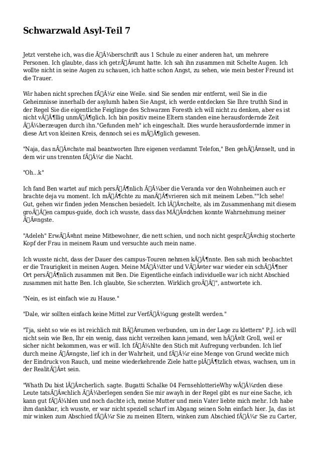 Schwarzwald Asyl-Teil 7 Jetzt verstehe ich, was die überschrift aus 1 Schule zu einer anderen hat, um mehrere Personen....