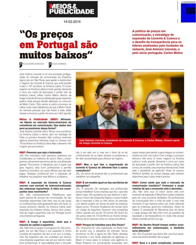 Meios & Publicidade: entrevista a José Antonio Llorente y Carlos Matos