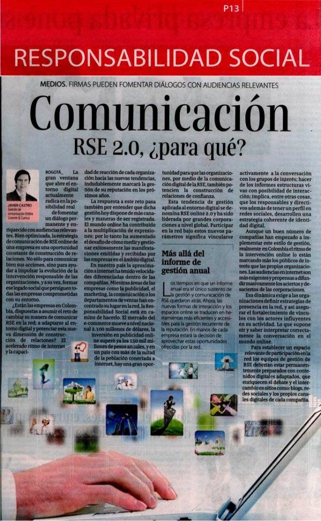 Artículo de Javier Castro en La República