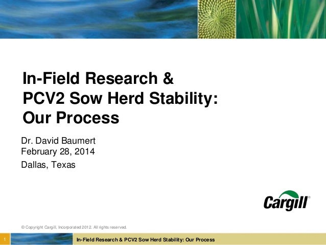 In-Field Research & PCV2 Sow Herd Stability: Our Process © Copyright Cargill, Incorporated 2012. All rights reserved. 1 In...