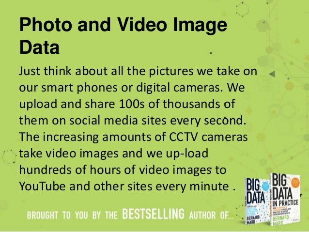 Photo and Video Image Data Just think about all the pictures we take on our smart phones or digital cameras. We upload and...