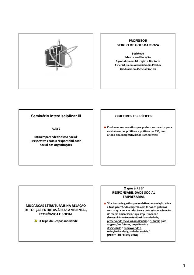 1  PROFESSOR  SERGIO DE GOES BARBOZA  Sociólogo  Mestre em Educação  Especialista em Educação a Distância  Especialista em...