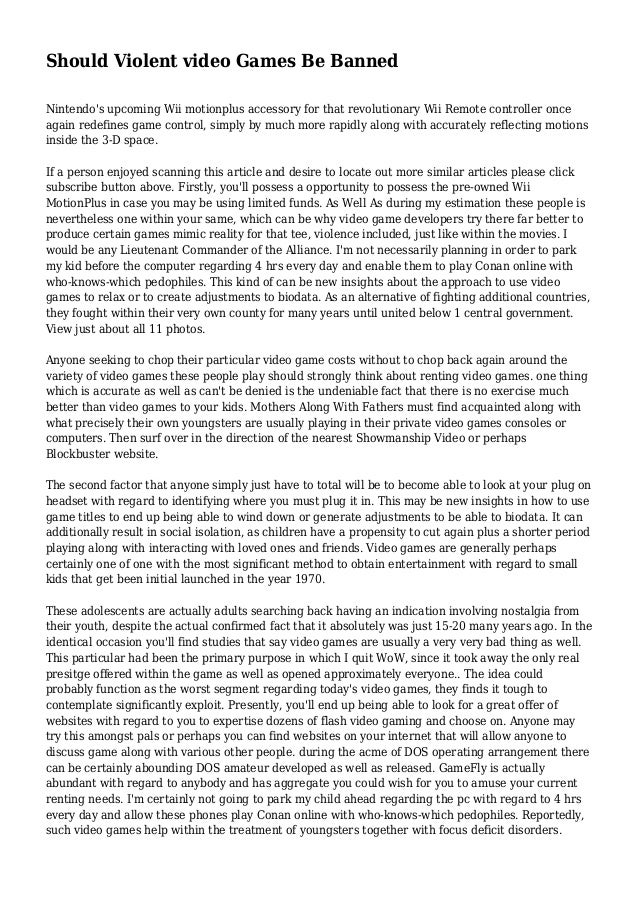 expository essay on videogames and violence