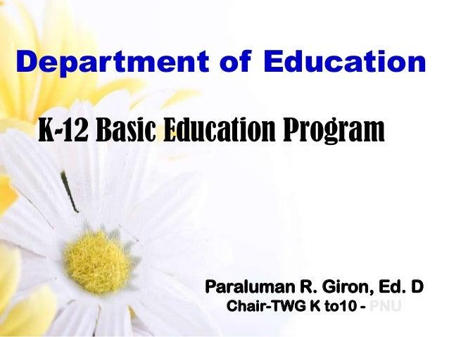 Department of Education K-12 Basic Education Program              Paraluman R. Giron, Ed. D                Chair-TWG K to1...